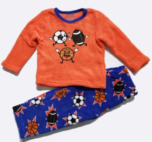 Baby Little Boys Coral Fleece Pajamas Set 2pc Football Printed Sleepwear  2 3 4T