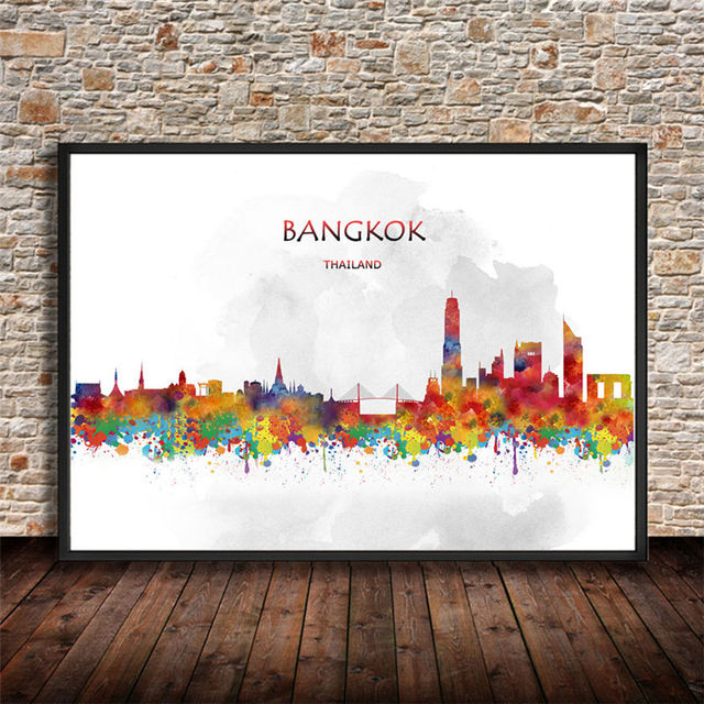 Abstract watercolor city building bangkok thailand art prints wall stickers painting poster house decor living room