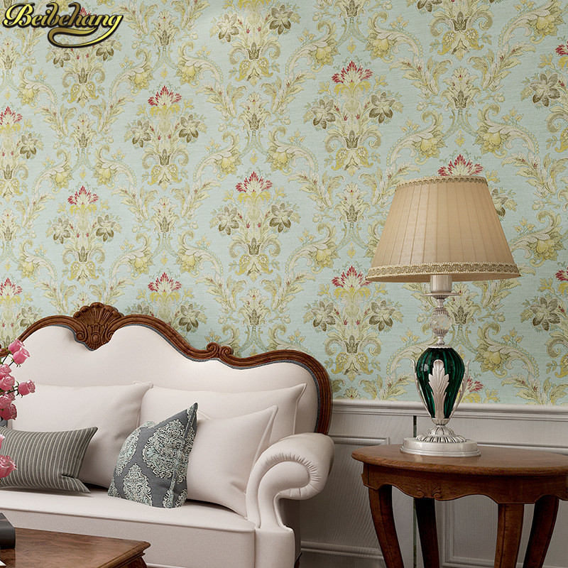 beibehang American retro Wallpaper Roll Desktop Living Room 3D Wall paper home decor TV Background green wallpaper for walls 3 d