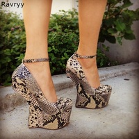 Strange Style Heel sexy snakeskin woman high heels cool platform heels ankle buckle fashion female club party show shoes