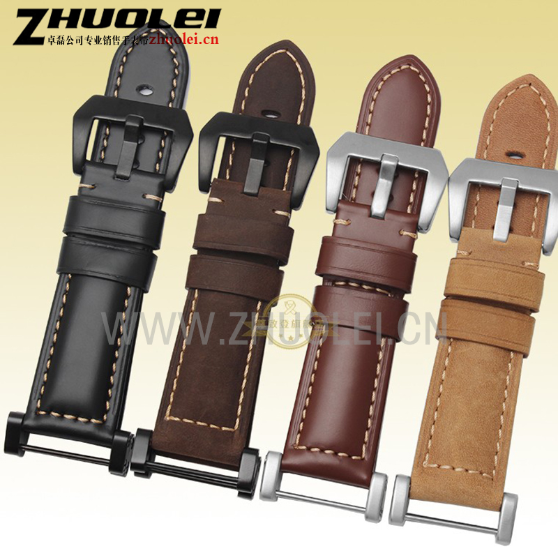 Hot Sale Quality Crazy Horse Leather Watch Band + Silver PVD black adapter 24mm For Suunto essential Watch Strap Suunto Core eache 20mm 22mm 24mm 26mm genuine leather watch band crazy horse leather strap for p watch hand made with black buckles
