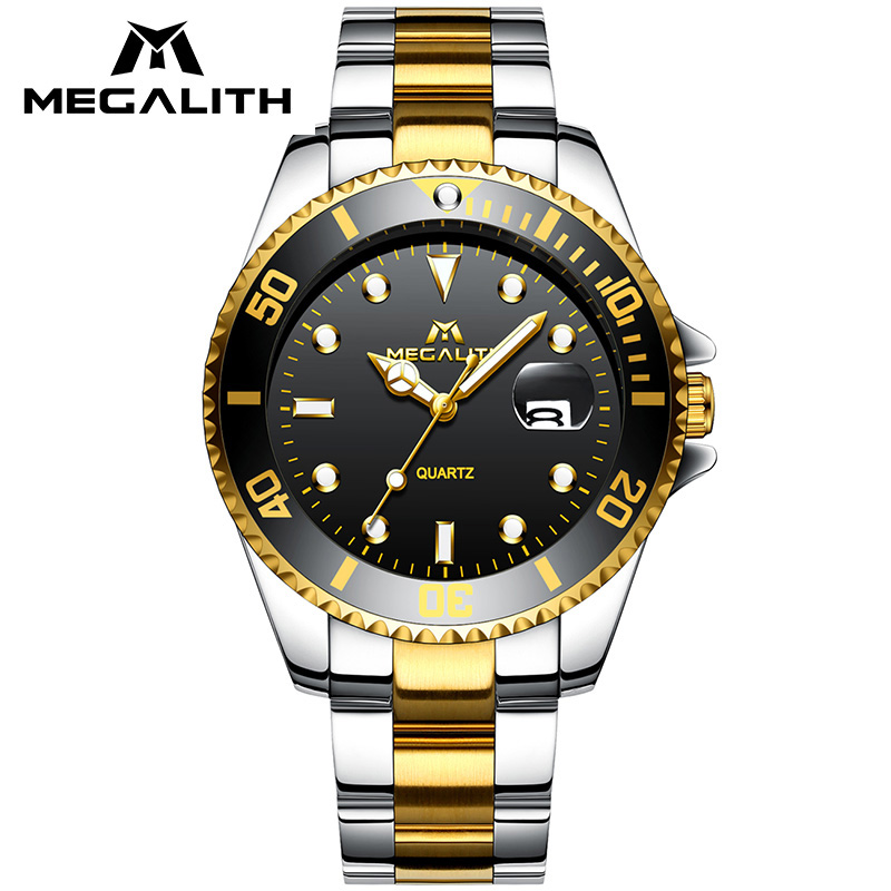 Business Casual Men Clock MEGALITH Top Brand Luxury Mens Watches Waterproof Analogue Date Stainless Steel Quartz Wrist Watch Men geeekthink top brand quartz watch men s fashion full stainless steel casual wrist watches imported movement waterproof date week