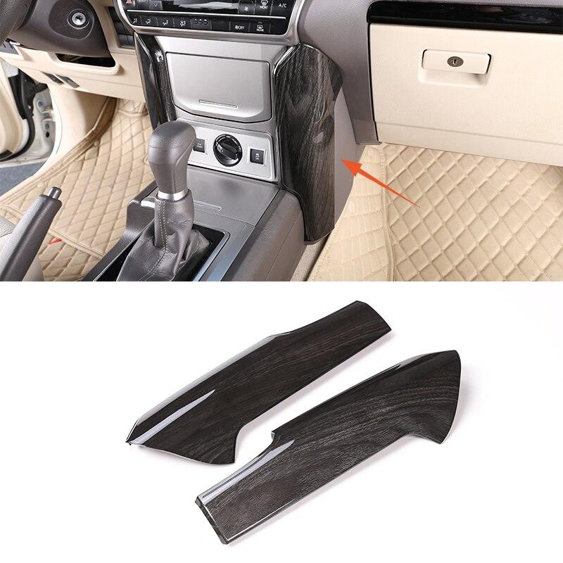 2 pièces noir frêne bois ABS Console centrale décoration panneau couverture garniture pour Toyota Land Cruiser Prado FJ150 150 2018 accessoires de voiture
