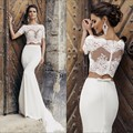 Luxury Two Pieces Mermaid Wedding Dress 2016 Boat Neck Satin Beaded Lace Women Mermaid Wedding Dresses Bridal Gowns PM86