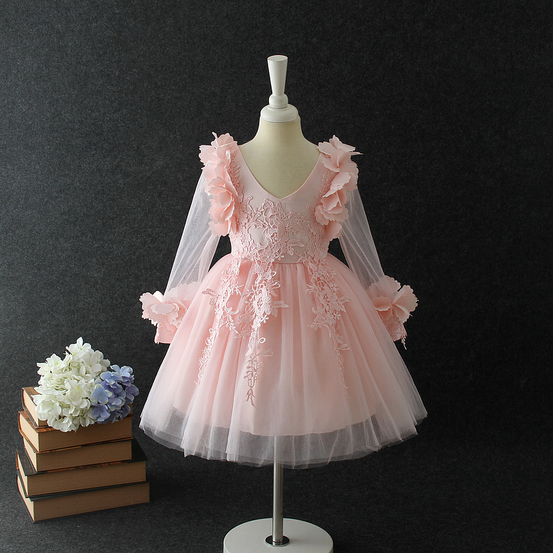 7455 Flower Petal Sleeve Princess Costume Baby Girls Dress kids dresses for wedding wholesale baby kids boutique clothing lots