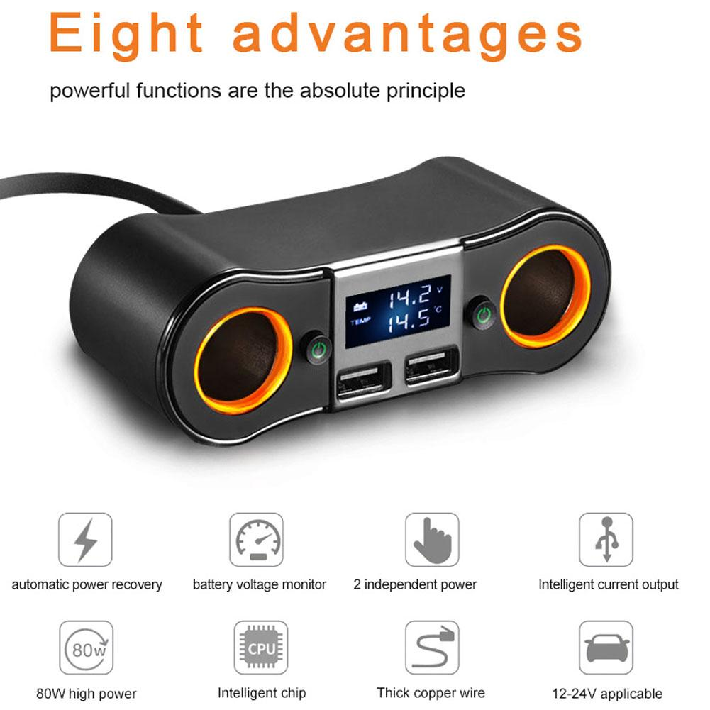 Car Charger 2 Sockets Cigarette Lighter Adapter Splitter 2 USB Car-Charger with Digital Display Voltage Meter Mobile Phones