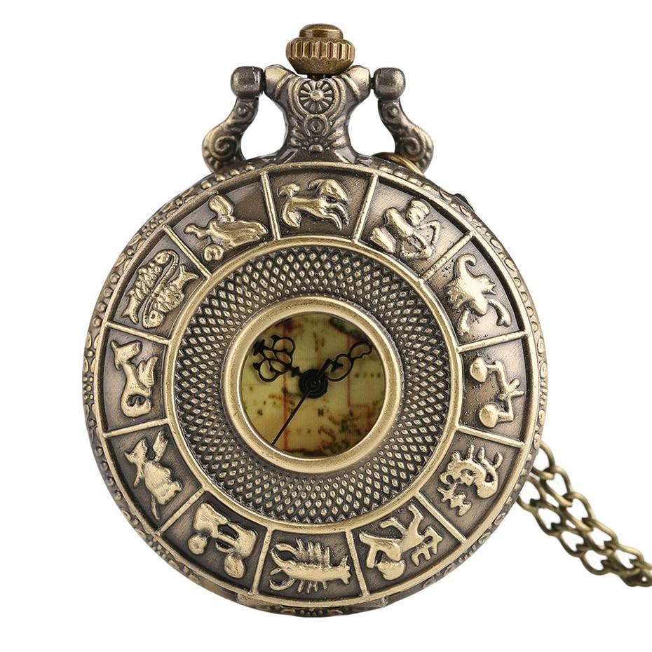 Fashion Retro Bronze Map Face Man Constellations Women Quartz Pocket Watch Vintage Hollow Necklace Copper Men Watches Gift