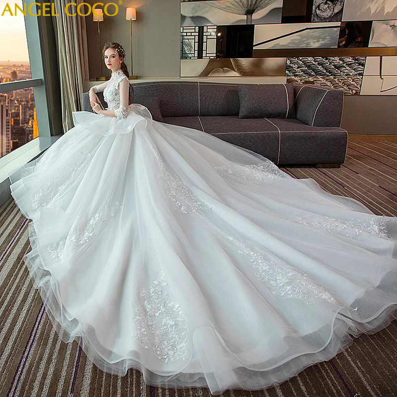 1-9 Month Luxury Pregnancy Maternity Wedding Dress Retro Stand Collar High Waist Long Tail Plus Size Pregnant Women Wedding Gown sweet stand collar long sleeve waist tied flare blouse for women