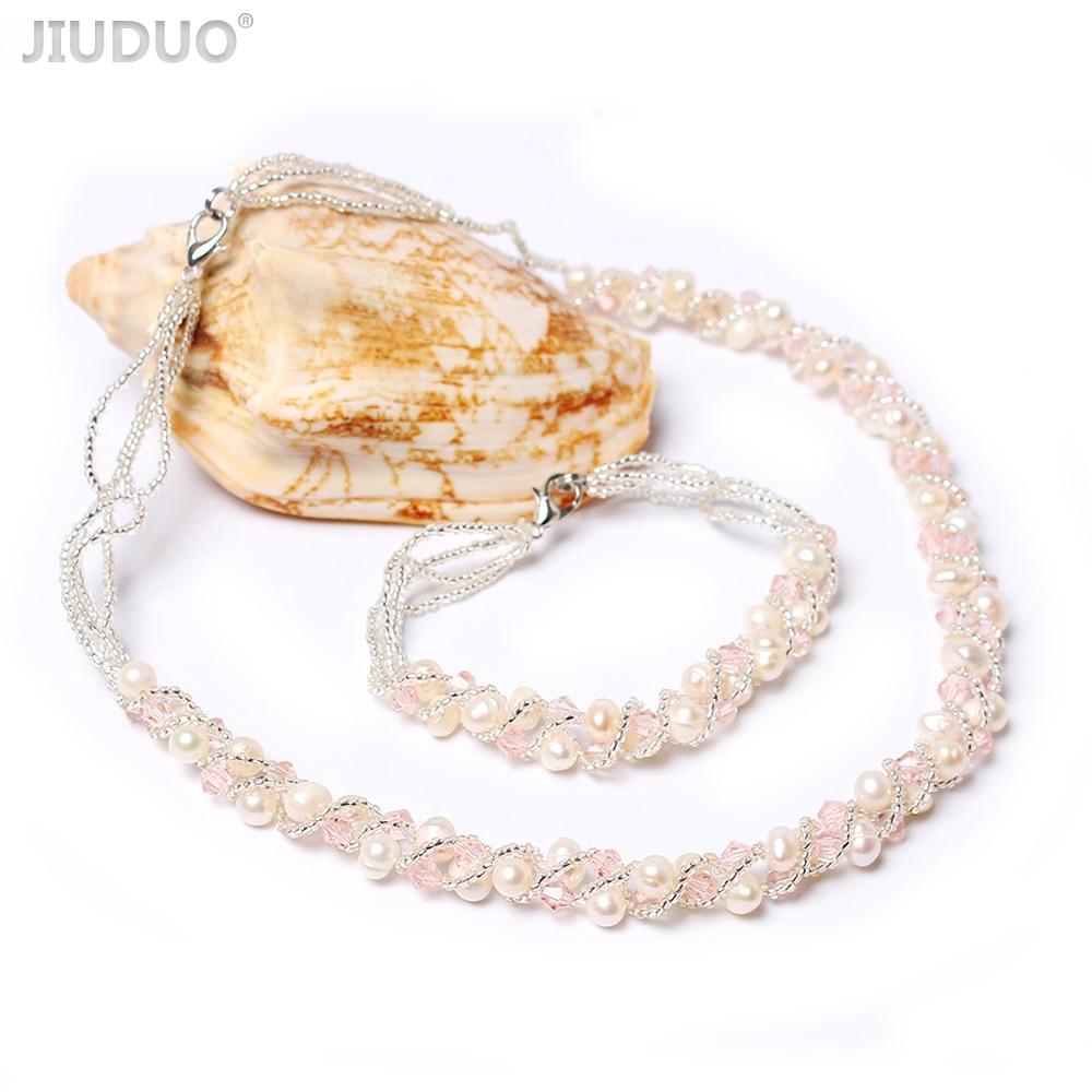 JIUDUO Romantic Engagement Jewelry Set for Women Freshwater Pearl Necklace Bracelet Jewellery Sets Bijoux Mariage Girl Gift JS10