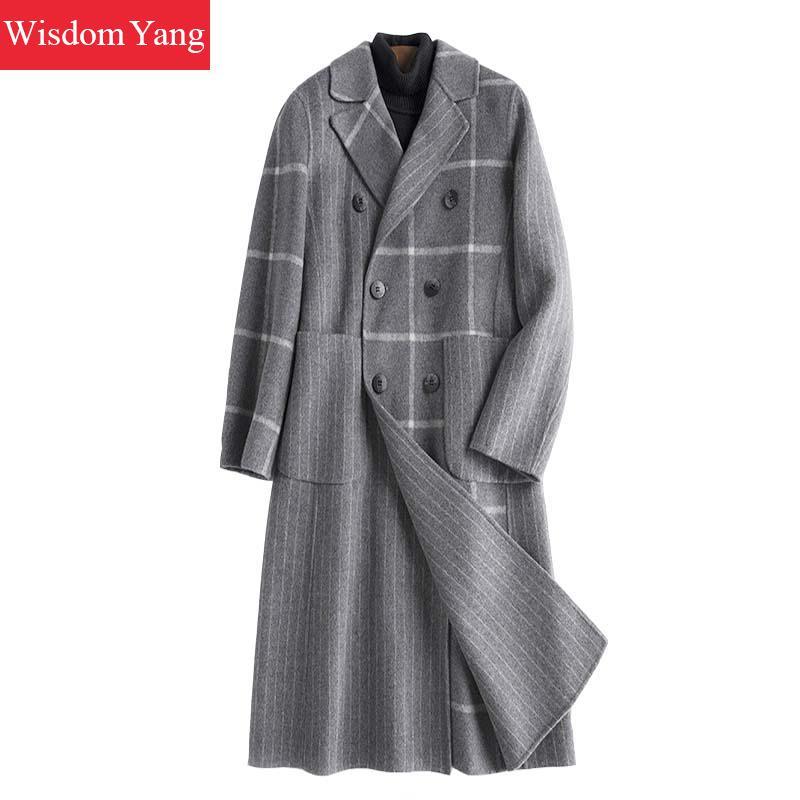 Элегантный серый в клетку женские Шерстяные пиджаки зимняя женская обувь теплые женские Xlong двойной кнопки шерстяные Тонкий дамы пальто Ве