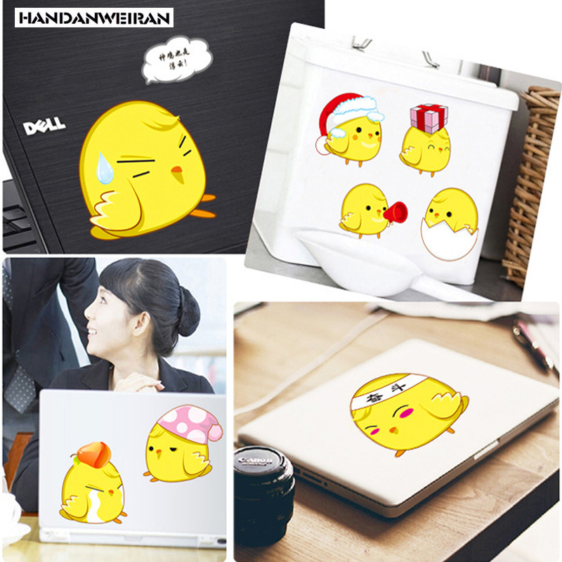 12pcs creative Cute little yellow Chicken switch sticker PVC transparent wall Cartoon Children