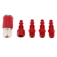 цена на 5 Pieces 1/4 Inch NPT Hose Compressor Connector Air Line Connection Female/Male Quick Release Disconnect Coupler Plug Fittings