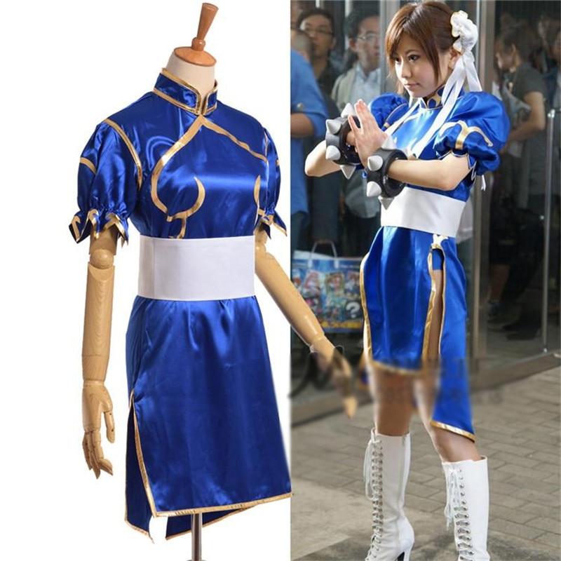 Adult Kid Chun Li Cosplay Costume With Headdress Halloween Costumes Anime Clothes For Girls Fancy Dress Game Costume Cheongsam