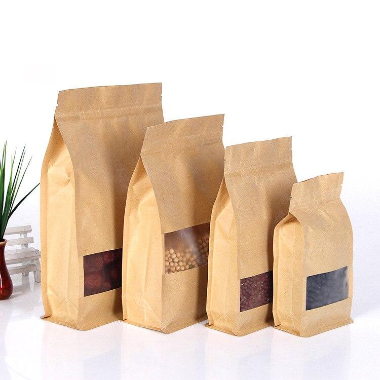 Ferimo 100pcs Side dog food bags sand-grinding Kraft paper bag dry fruit food storage bag