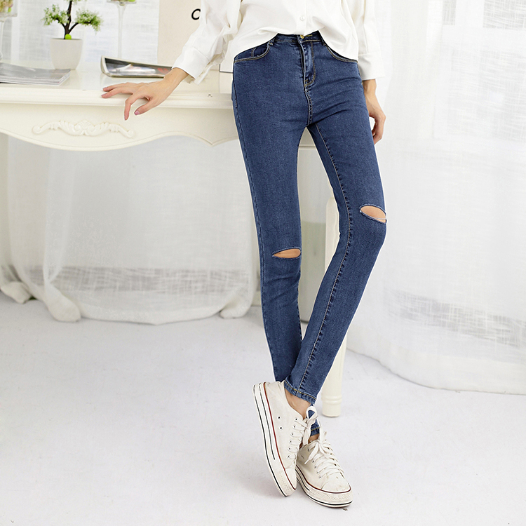 2015 New Fashion Women Pants,Plus Size Stretch Skinny High Waist Jeans Women Blue Pencil Casual Slim denim Pants Ripped Jeans rosicil new women jeans low waist stretch ankle length slim pencil pants fashion female jeans plus size jeans femme 2017 tsl049
