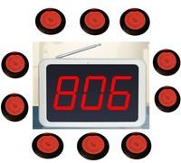 無線呼出元システム、レストラン通話システム、ホテル/病院コールベル、 3 桁表示受信機 + 10 個超薄型コールボタン -