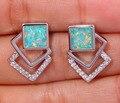 """Green Fire Opal Cubic Zirconia Silver Earrings Wholesale Retail Hot Sell for Women Jewelry Stud Earrings 3/4"""" OH3458"""