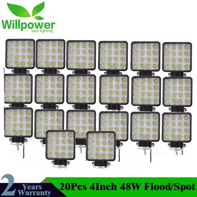 20 PCS high power IP67 waterproof Offroad 4x4 led driving light truck tractor flood beam 48w