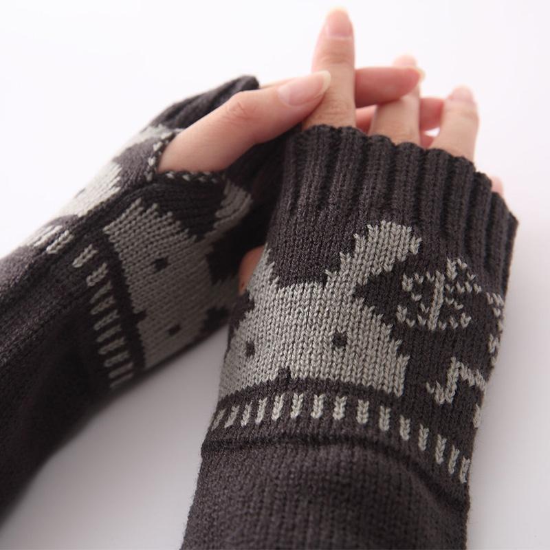 Women Winter Bunny Pattern Arm Warmer Knit Fingerless Long Gloves