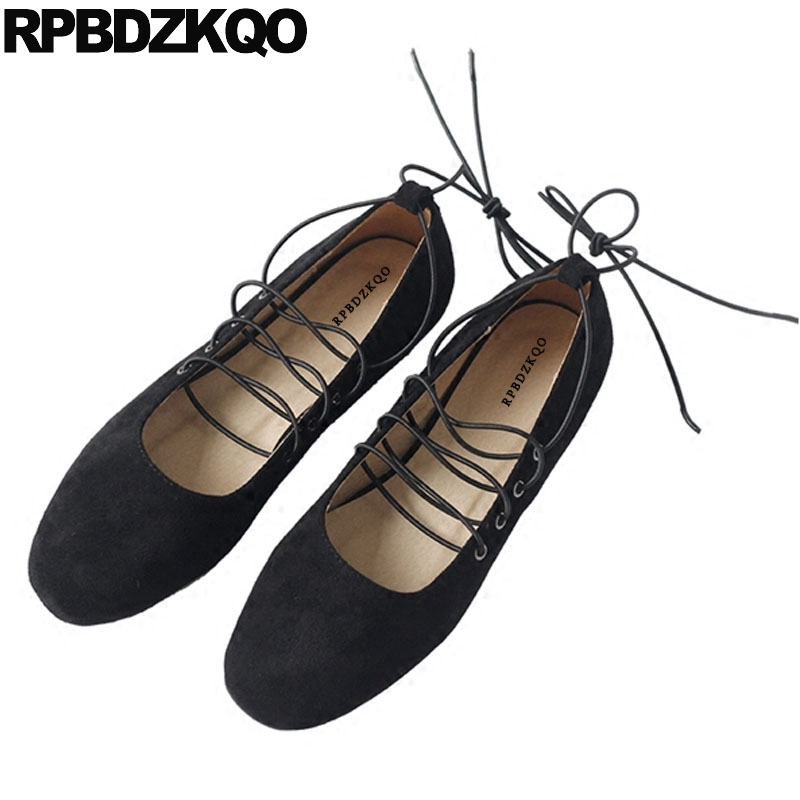 Chinese Lace Up White Suede Shoes Square Toe Ballerina Black Soft Ballet Flats Women Elevator Comfortable Height Increasing