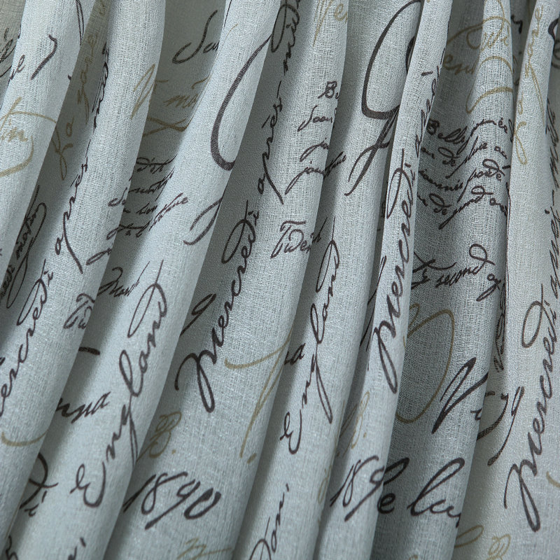 CaliTime Window Curtains Panels 50 X 63 French Script Faux Linen Sheers Grey Pack Of 2 In From Home Garden On Aliexpress