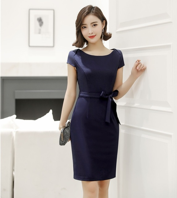 463cdf99caf Summer Women Dresses Short Sleeve Ladies Work Wear Dress Dark Blue Slim  Office Uniform Styles
