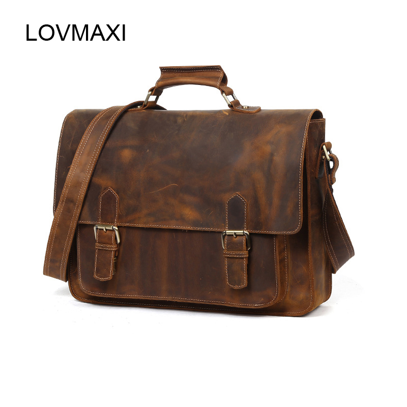 LOVMAXI Man handbags Natural cow leather vintage messenger bag Mens crazy horse leather business bags 2018 laptop bags briefcase