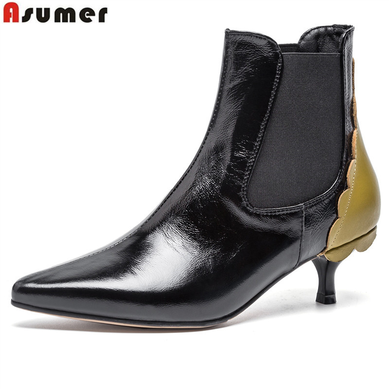 ASUMER 2019 New genuine leather boots pointed toe high heels shoes autumn winter boots women fashion mixed color ankle boots printing new boots 2015 autumn winter genuine leather mixed colors thick with pointed toe woman boots stylish comfortable shoes