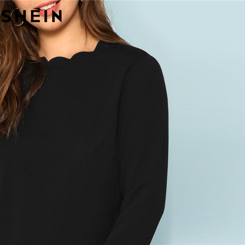 7752959adc SHEIN Black Scallop Trim Neck Cuff Hem Plus Szie Women Long Sleeve T shirt  2018 Autumn New Elegant Office Lady Workwear Top Tees-in T-Shirts from  Women's ...