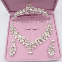 Luxurious Pearl Wedding Bridal Jewelry Sets Tiara Crowns Necklace Earrings For Women Decorations Wedding Jewelry Accessories(China)