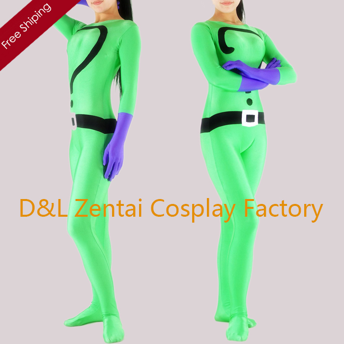Free Shipping DHL Sexy Women Green Question Mark Lycra Spandex Skin-Tight Bodysuit One-Piece Leotard Catsuits Halloween Party