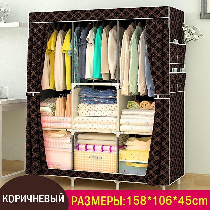 Новая ткань шкаф простой укрепление корпус сборка мебели большой складной гардероб без каблука раздвижные двери нетканого шкаф