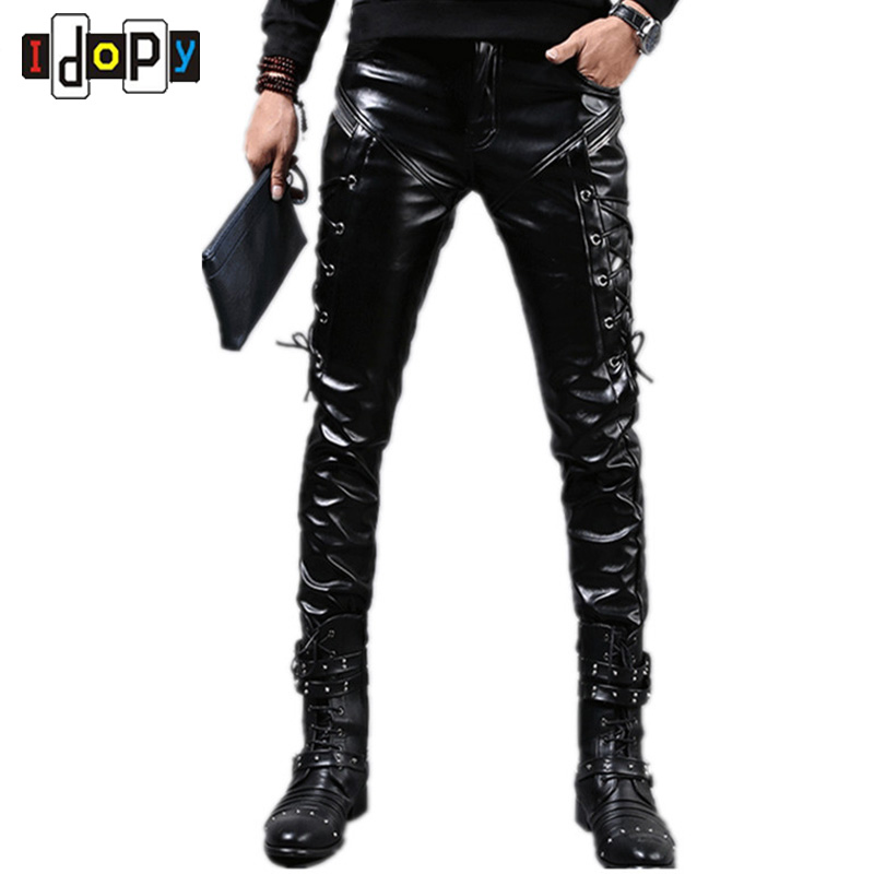 Fashion Autumn&Winter Mens Skinny Leather Pants Faux Black Joggers Pants Motorcycle Trousers For Men With Strings
