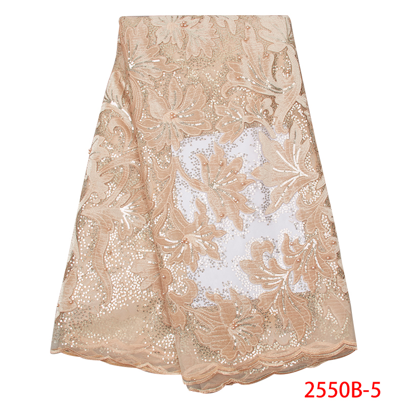 High Quality Nigerian French Lace Fabrics 2019 African Lace Fabric Velvet Tulle Laces With Sequins For Party Dress KS2550B-5