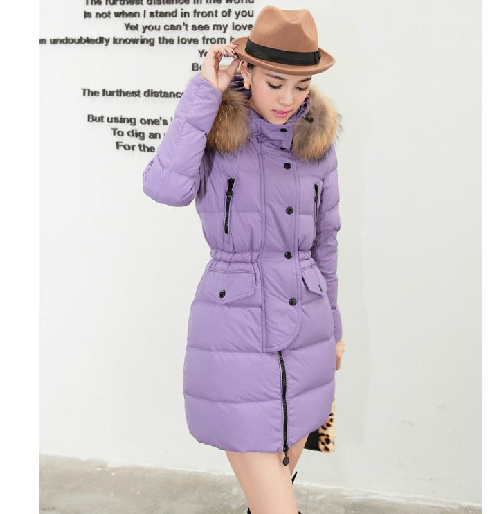 ФОТО 2013 new winter Nagymaros collar long cotton padded outerwear womens fur collar long sleeve zipper hooded down jacket H1901