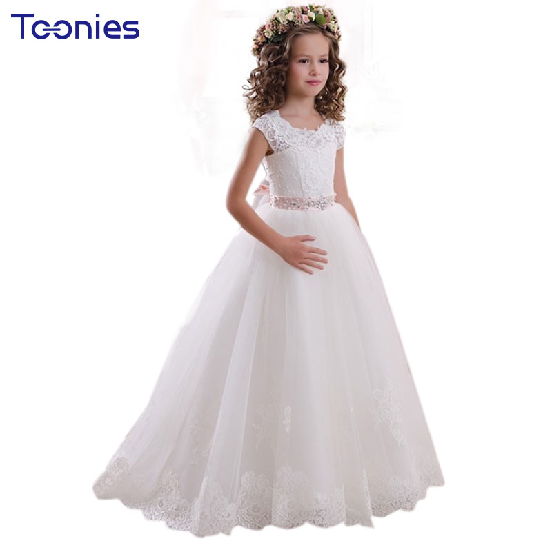 Lace Flower Girls Dresses Trailing Embroidered Wedding Formal Girl Dress Birthday Evening Party Princess Ball Gown Kids Vestidos