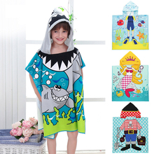Размер 90*60 см, детское банное полотенце с капюшоном и рисунком, банный халат, хлопковый махровый банный халат для младенцев, детский банный халат, подарки для малышей, BCS0004