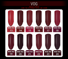 VOG Free Shipping 1pcs 6ml Wine Red Gel Polish Gel varnish For Nail Art 12 colors for choice