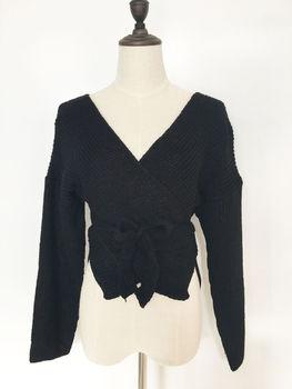 Hirigin Women Sweaters Crop Top Casual Long sleeve Knitted Loose Sweater Knitwear For Women Belt Deep V Neck Outwear Fashion 2
