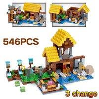 Toys For Children Technic LegoINGLYs Minecrafted The Farm Cottage Village 21144 Classic DIY Bricks Mini Action Figures