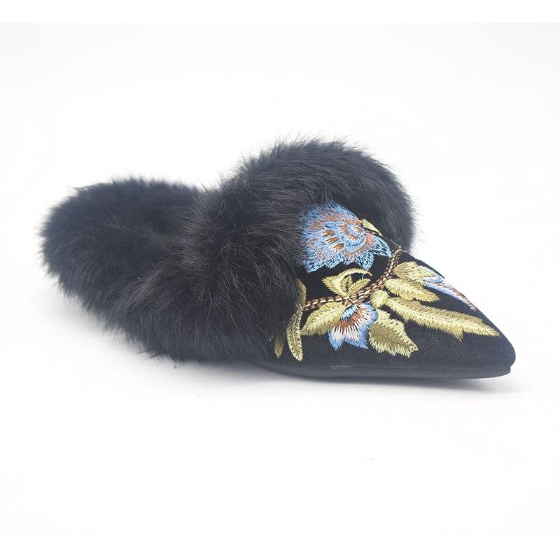 Hausschuhe Maultiere Frauen Spitz Warme Neue Flauschigen Stickerei Winter Echten Mode Kaninchenfell H6nT7x