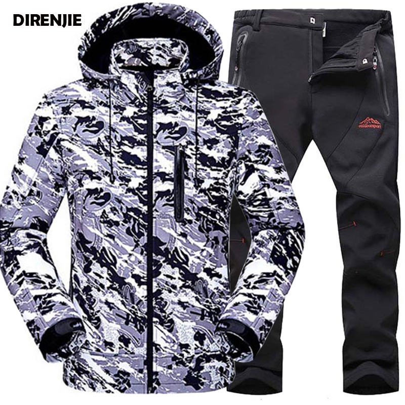 DIRENJIE 2017 Man New Waterproof Trekking Camouflag Softshell Outdoor Jacket Hiking Hoodie Sharkskin Camping Pants Trousers S45