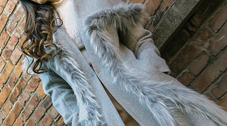 Femmes Grey Style Long Nouveau Et Laine Manteau Avec Fourrure Pardessus De Hiver Mince En L'air Pour Mince AAaI7Sq