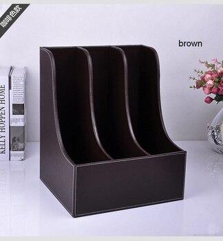 curve3-slot wood leather desk A4 file book magazine document stand rack shelf storage box tray filing organizer holder 220B