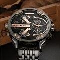 Oulm grande grande relógios homens marca de luxo famoso relógio de quartzo de aço inoxidável relógio de pulso dos homens do exército militar relogio masculino