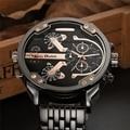 Oulm grande grande relojes hombres marca de lujo famoso reloj de cuarzo de acero inoxidable hombres del ejército militar reloj relogio masculino