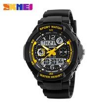 Модные Для мужчин кварцевые цифровые часы Дети Спортивные часы SKMEI Марка светодиодный Военная Униформа Водонепроницаемый Наручные часы