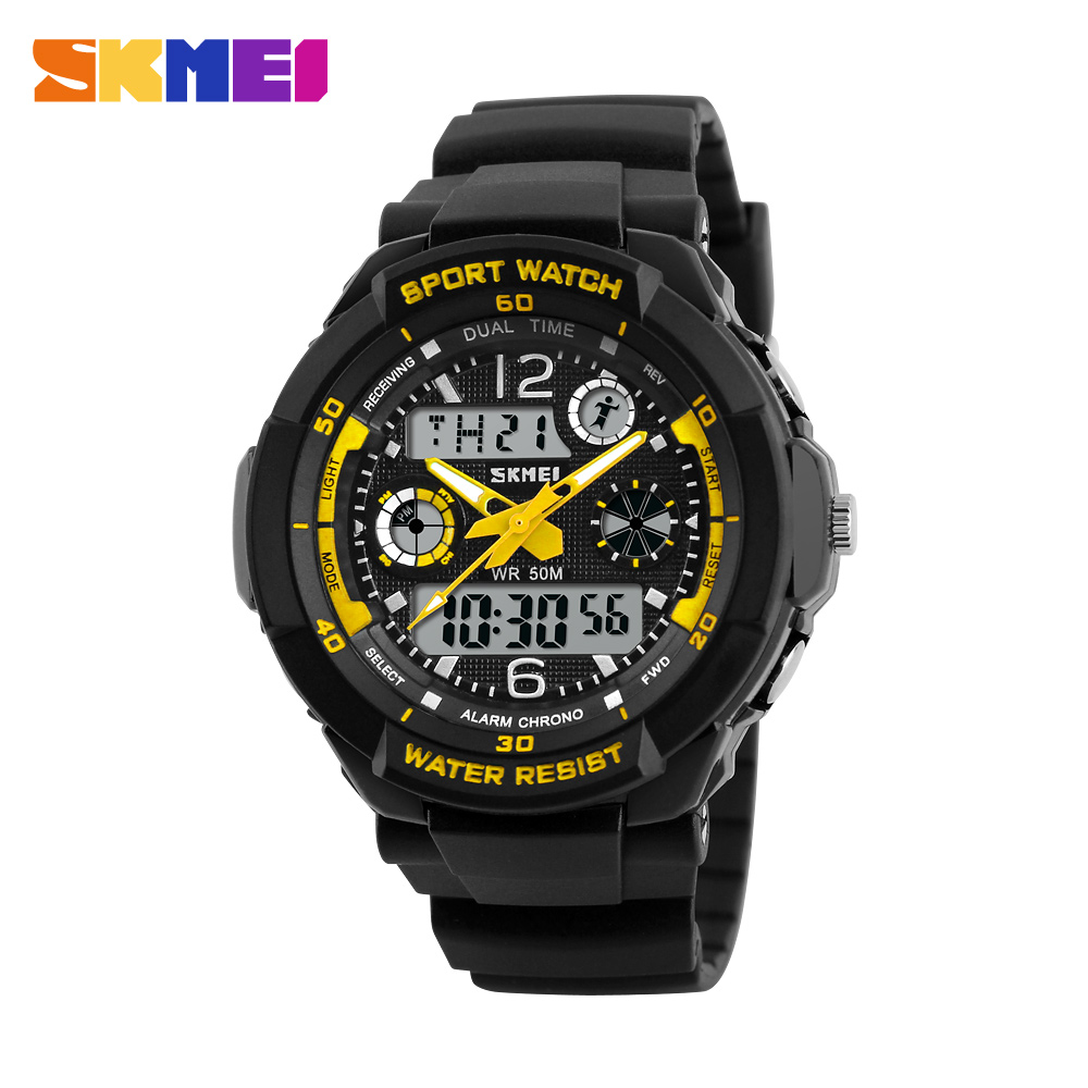 Moda męska cyfrowy zegarek kwarcowy dzieci sport zegarki marka skmei LED wojskowe zegarki wodoodporne