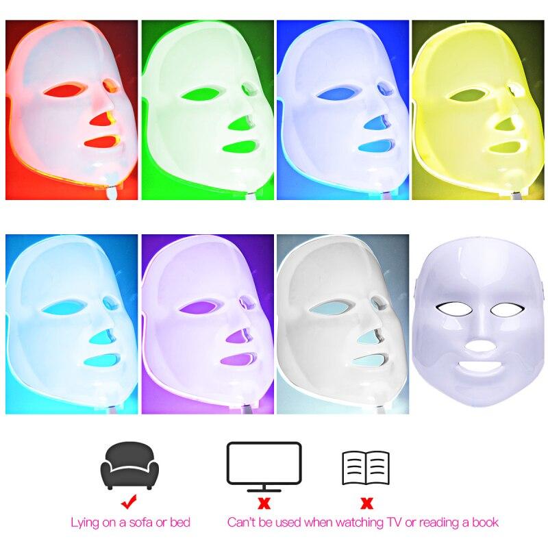 7 colores LED máscara facial PDT Photon Cara arrugas rejuvenecimiento de la piel limpieza facial eléctrica máscara anti-envejecimiento terapia s28