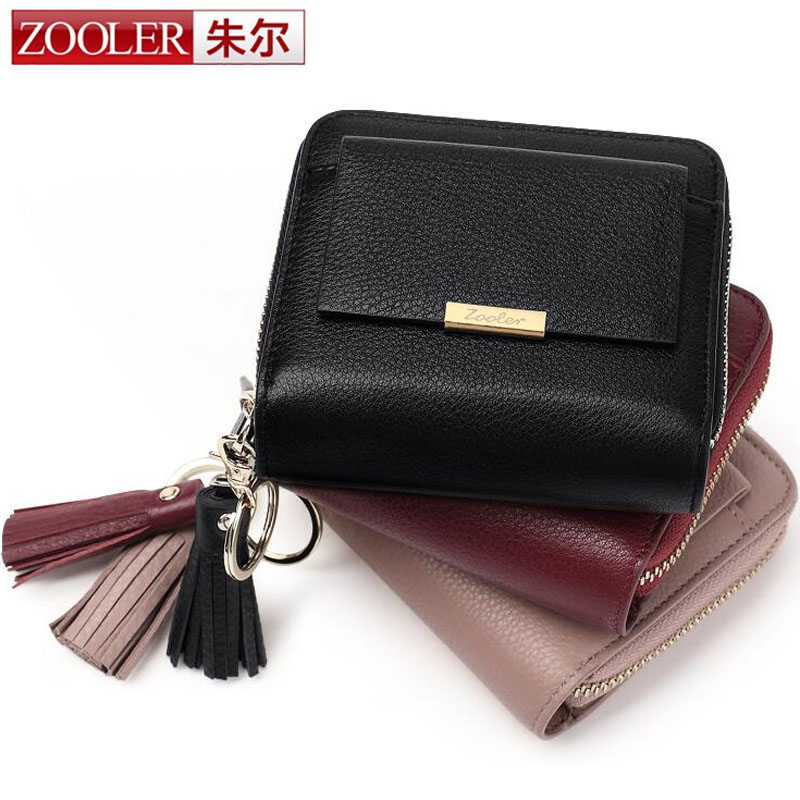 ZOOLER Hot Genuine Women Small Wallet Tassel Cowhide Leather Short Coin Purse Vintage Wallet Brand High Quality Design Card Bag 2017 genuine cowhide leather brand women wallet short design lady small coin purse mini clutch cartera high quality